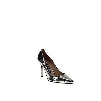 Sergio Rossi | Crackled Leather Pointed Toe Pumps