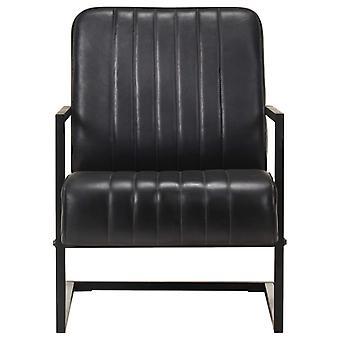 vidaXL wspornik krzesło czarny prawdziwa skóra