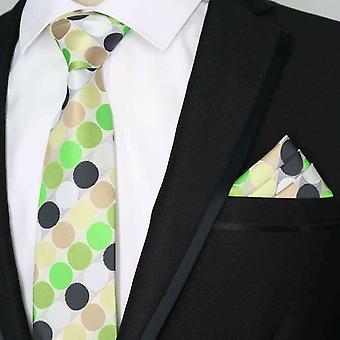 Green white black oat polka dot tie & pocket square set
