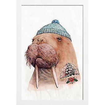 JUNIQE Print - Tatooed Walrus - Fantasy & Mixed Creature Poster in Blauw & Bruin