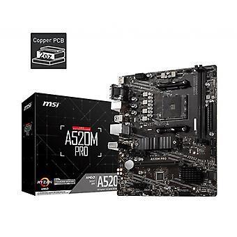 MSI A520M PRO AMD Socket AM4 Micro ATX VGA/HDMI/DIsplayPort USB 3.2 Gen1 M.2 moderkort