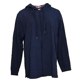 Denim & Co. Women's French Terry Zip-Up Jacket w/ Hood Blue A391544