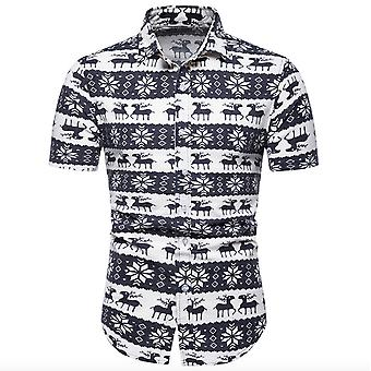 Men's Business Printed Stripes Half Sleeves Casual Shirt