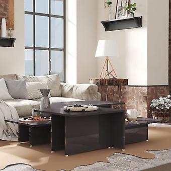 vidaXL sohvapöydät 2 kpl. korkeakiiltoinen harmaa 111,5x50x33 cm lastulevy