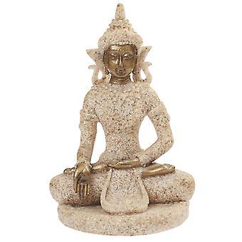 8cm Stone Look och Gold Earth Touching Buddha för Zen Gardens