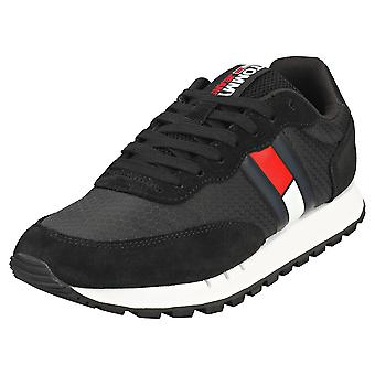 Tommy Jeans Retro Mix Runner Mens Casual Trainers i svart