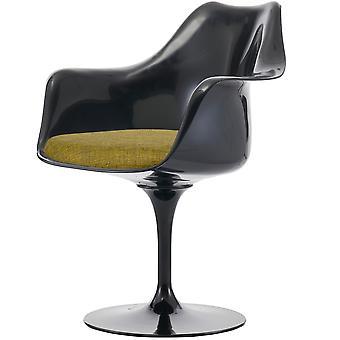 Fusion Living kiiltävä musta ja kuvioitu oliivinvihreä kääntö nojatuoli