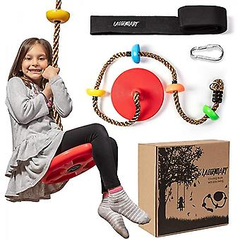 Climbing Rope Tree Swing With Platforms And Disc Swings Seat - Playground Swingset  Outdoor For Kids -  Carabiner And 2 Ft  Strap