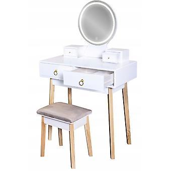 Houten kaptafel wit - LED-verlichte spiegel- met bijpassende kruk - 133,5x40x80 cm