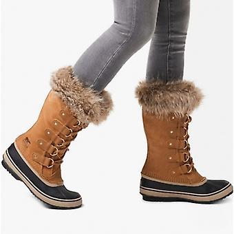 Sorel Joan Of Arctic Ladies Suede Waterproof Boots Camel Brown/black