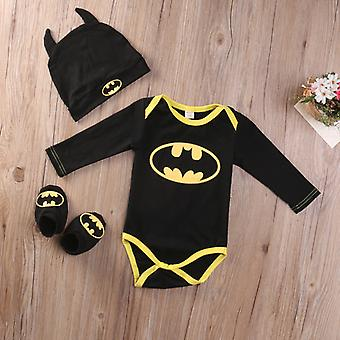 Newborn Toddler Infant Baby Boys Batman Romper Shoes Zestaw kapeluszy Strój