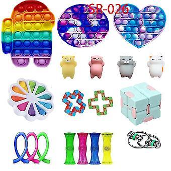 19st ångest relief leksaker set Rainbow Push Pop Bubble Sensory Fidget Leksak