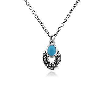 Art Deco Style Soikea Turkoosi & Marcasite kaulakoru 925 Sterling Hopea 214N688202925