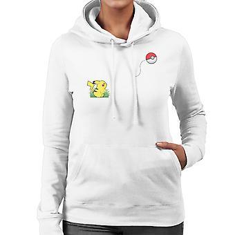 Pokemon Banksy Pikachu Pokeball Heart Balloon Women's Hooded Sweatshirt