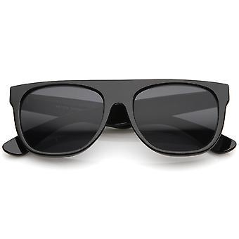 Modern Super Flat-Top Wide Temple Horn Rimmed Sunglasses 55mm