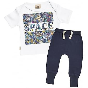Verwend rotte ruimte Print T-Shirt & Marine Joggers Outfit Set