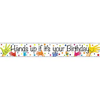 Simon Elvin Hands Up If It�'s Your Birthday Holographic Foil Banner