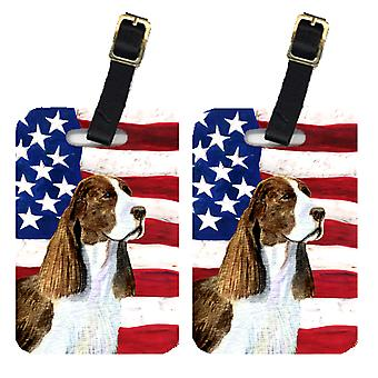 Pair of USA American Flag with Springer Spaniel Luggage Tags