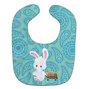 Каролинских сокровища BB6898BIB Пасхальный кролик Baby голубой Paisley Bib