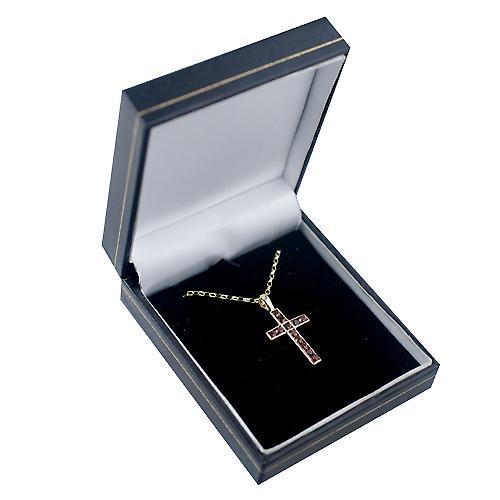 9ct Gold 25x16mm Apostel Kreuz mit 12 Granate mit einem Belcher Kette 24 Zoll gesetzt