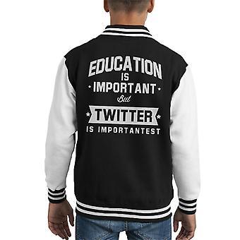 Bildung ist wichtig, aber Twitter ist wichtigst Kid Varsity Jacket