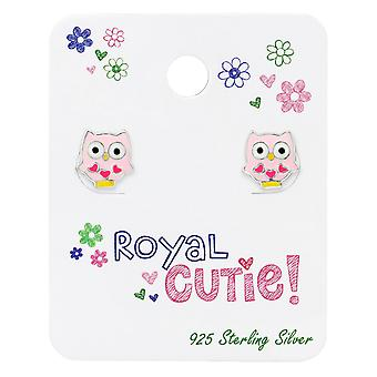 Owl Ear Studs On Royal Cutie Card - 925 Sterling Silver Sets - W34103x