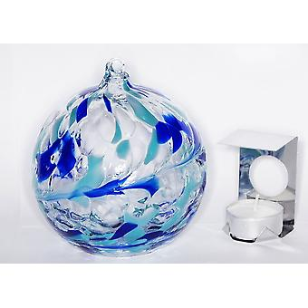 Hanging Glass Tealight Holder - Aquamarine by Milford Collection