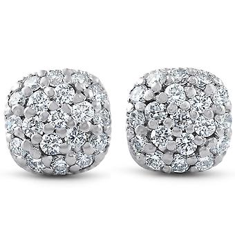 1/2ct Pave Diamond Poduszka Szpilki 14k Białe złoto