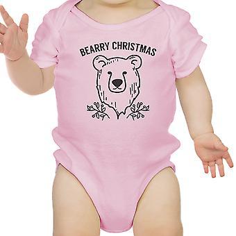 Bearry natale orso carino Natale Baby Bodysuit rosa nuovo mamma regalo