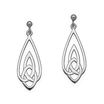 Sterling Silver Traditional Celtic Eternity Knotwork Design Pair of Earrings - E1636