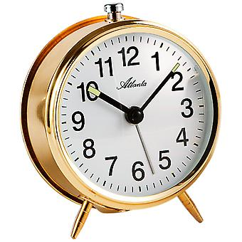 Atlanta 1051/9 mechanical alarm clock metal golden mechanically round