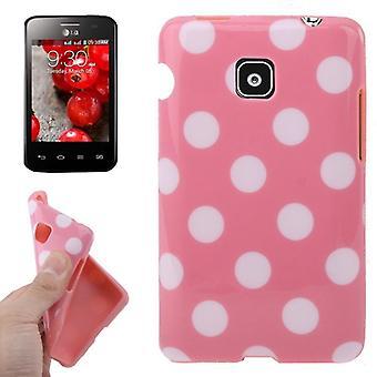 Suojaava tapauksessa TPU kohdan tapauksessa mobile LG Optimus L3 II / E430 vaaleanpunainen