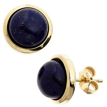 Ädelsten örhängen knappar 585 guld gul guld 2 lapis lazuli örhängen Guld lapis lazuli örhängen