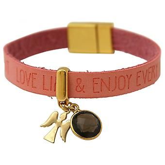 Smoky quartz - magnetic closure - WISHES - pink - pink - gold-plated ladies-bracelet - protection Angel