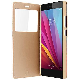 Smart view window flip case for Honor 5X, slim cover – Gold