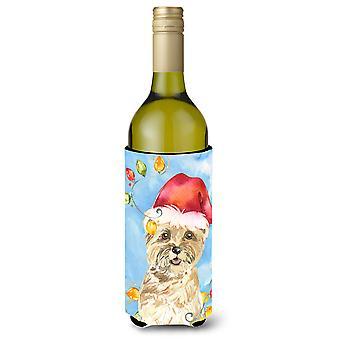 Christmas Lights Cairn Terrier Wine Bottle Beverage Insulator Hugger