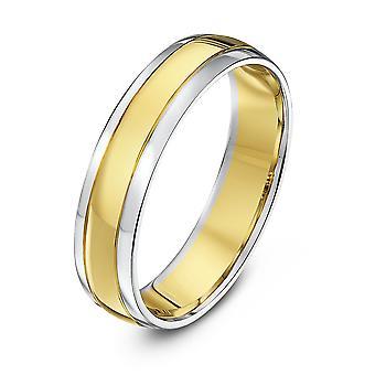 Star Wedding Rings 9ct White & Yellow Gold Court Shape 5mm Wedding Ring