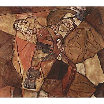 Agony, Egon Schiele, 80x70cm