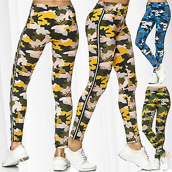 Women's Leggings Camouflage Sport Workout Treggings Pants Stretch Stripes