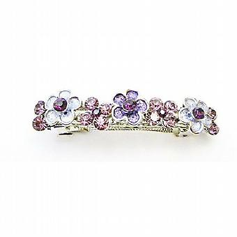 W/アメジスト結晶結晶髪アクセサリー紫花 Barette