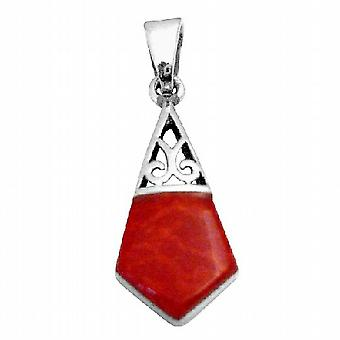 Sterling Silver 925 Coral Vintage Pendant Gift