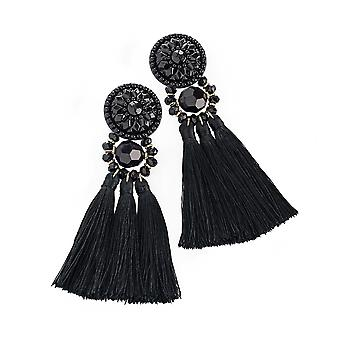 Ladies Black Bead With Black Thread Tassel Drop Earrings 10cm