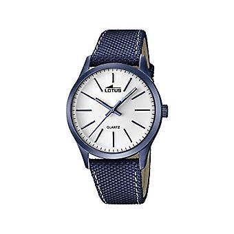 Lotus-quartz with analog Display and black leather strap, color: blue, 1 18166