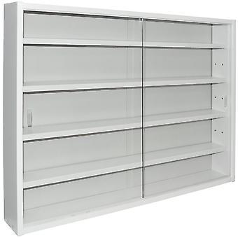 Zeigen Sie-4 Regal Glas Wand Sammler Kabinett - Anzeige weiß