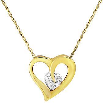 Mark Milton Cubic Zirconia Heart Pendant - Yellow Gold/Silver