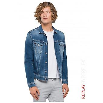 Replay jeans Hyperflex jakke brugt effekt-medium blå