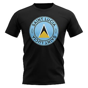 Saint Lucia voetbal badge T-shirt (zwart)