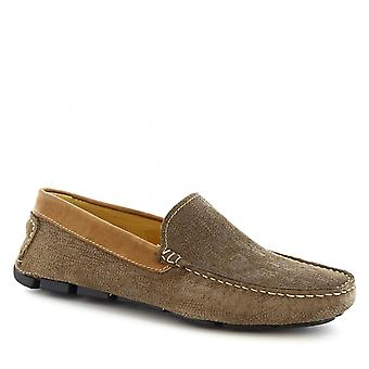 Leonardo Shoes Men's handmade slip-on driving loafers in taupe suede leather
