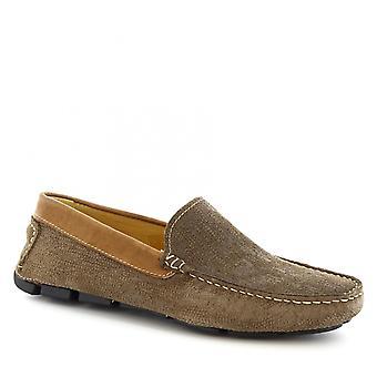 Leonardo sko menns håndlaget slip-on kjøring loafers i taupe semsket skinn