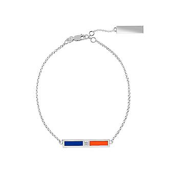 New York Islanders Sterling Silver Diamond Chain Chain Bracelet In Blue and Orange